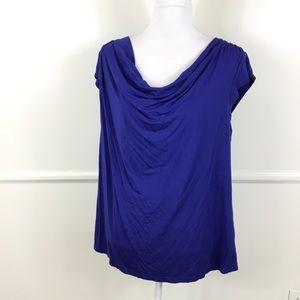 Lane Bryant Blue Purple Cowl Neck Top Womens 14/16